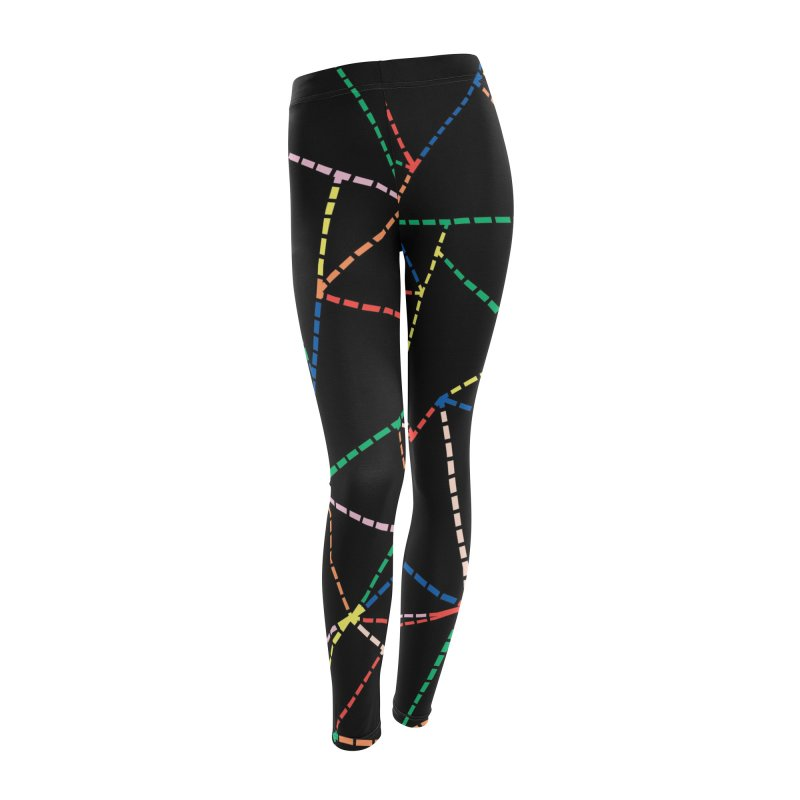 Ab Dotted Color Lines B Women's Leggings Bottoms by Project M's Artist Shop