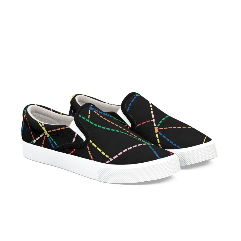 Ab Dotted Color Lines B Men's Slip-On Shoes by Project M's Artist Shop