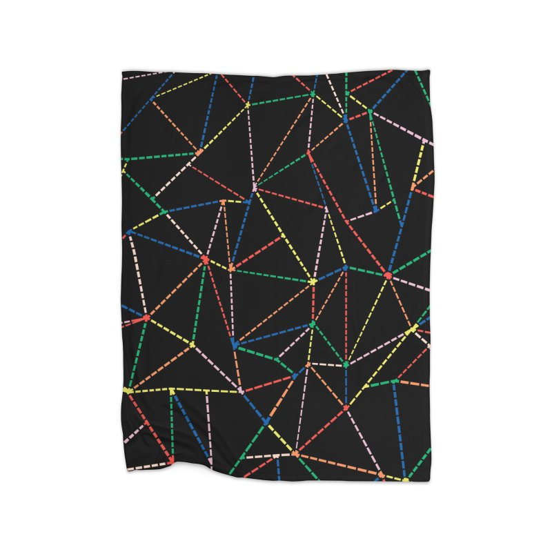 Ab Dotted Color Lines B Home Fleece Blanket Blanket by Project M's Artist Shop