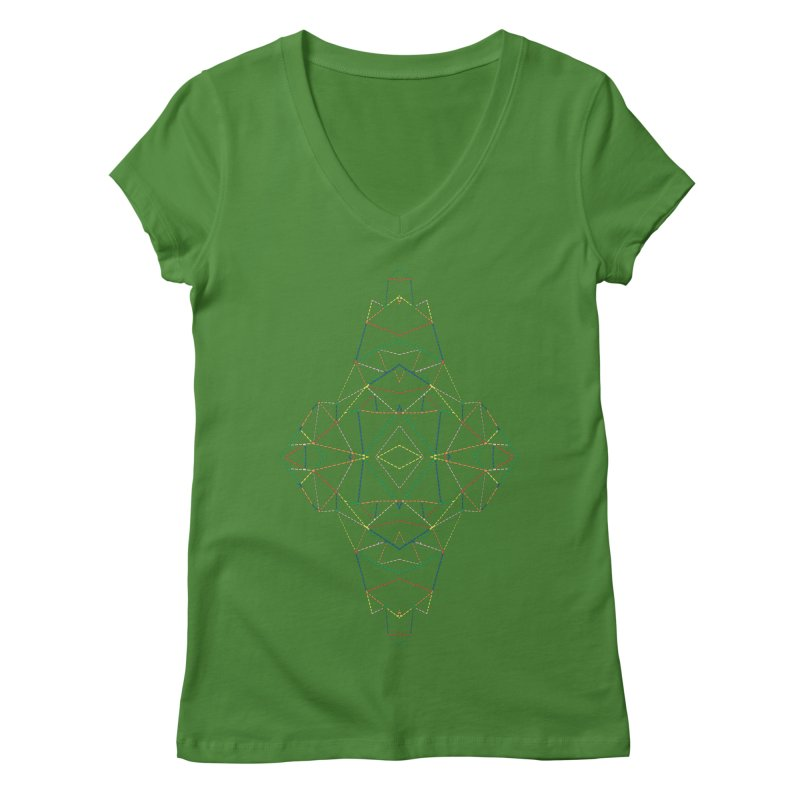 Ab Dotted Color Lines B Women's Regular V-Neck by Project M's Artist Shop
