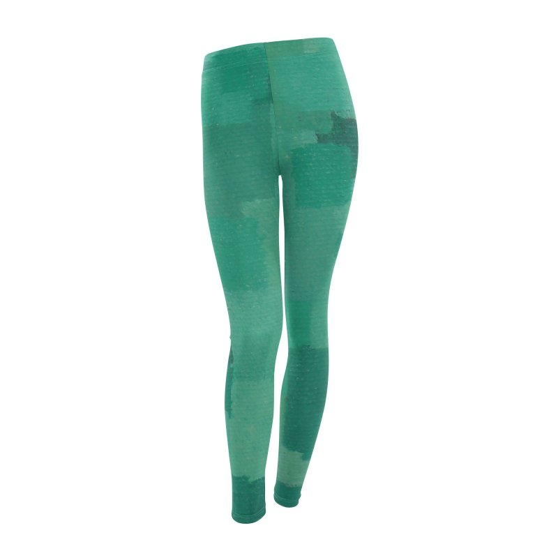 Squares Within Squares Green Women's Leggings Bottoms by Project M's Artist Shop