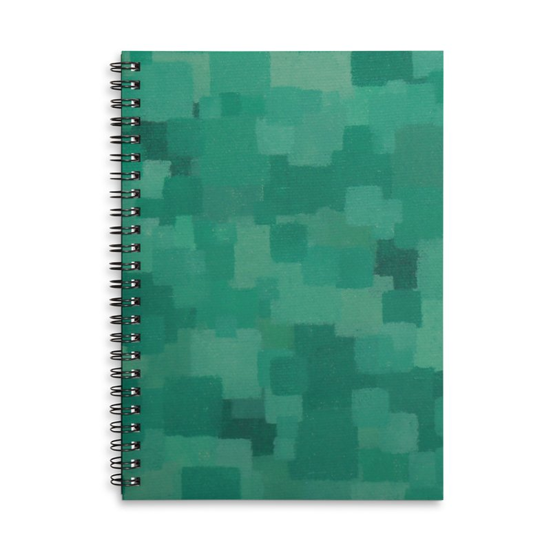 Squares Within Squares Green Accessories Lined Spiral Notebook by Project M's Artist Shop