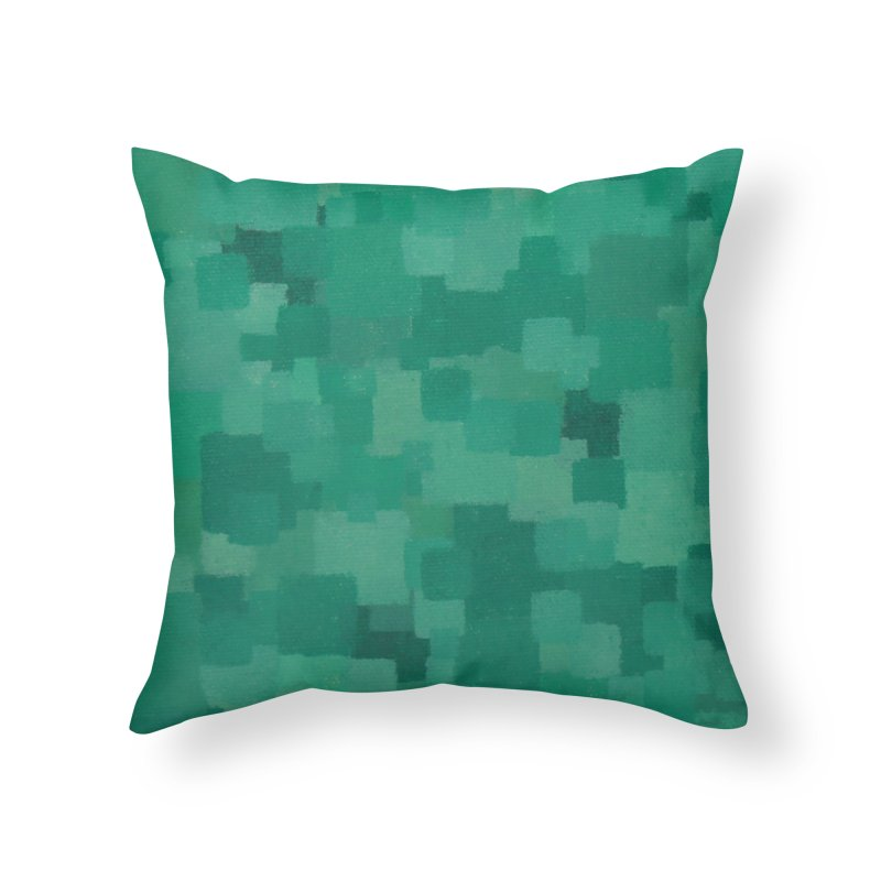 Squares Within Squares Green Home Throw Pillow by Project M's Artist Shop