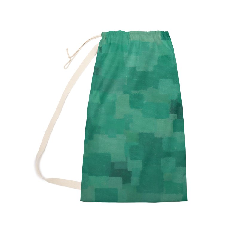 Squares Within Squares Green Accessories Laundry Bag Bag by Project M's Artist Shop
