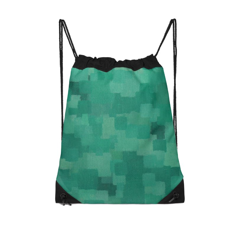 Squares Within Squares Green Accessories Drawstring Bag Bag by Project M's Artist Shop
