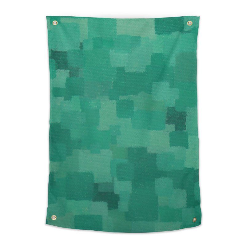 Squares Within Squares Green Home Tapestry by Project M's Artist Shop