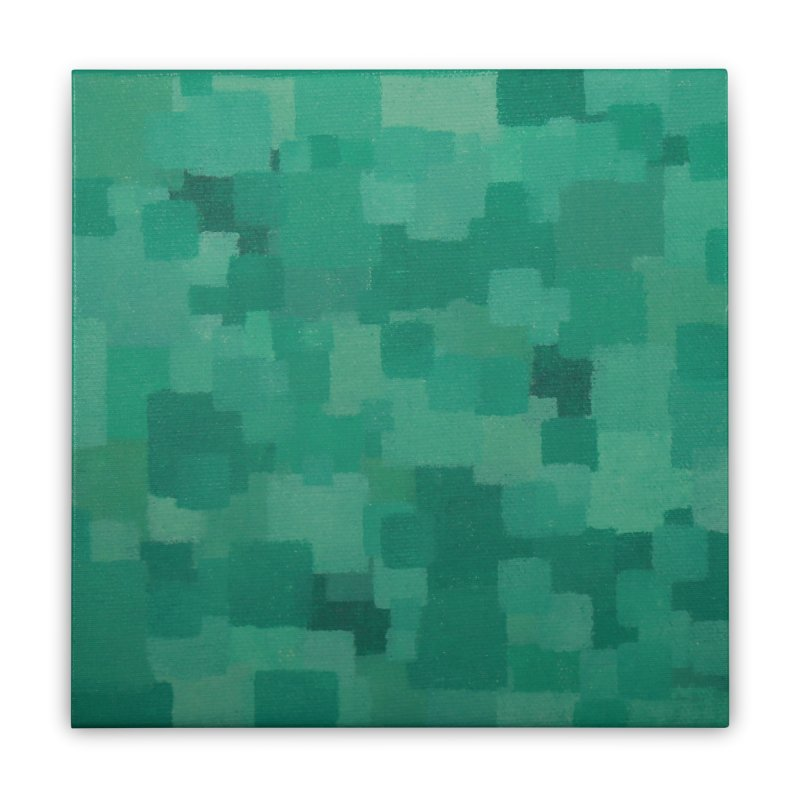 Squares Within Squares Green Home Stretched Canvas by Project M's Artist Shop