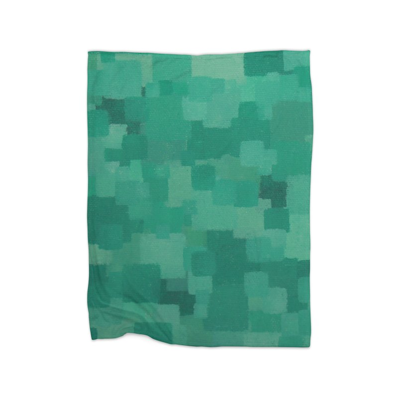Squares Within Squares Green Home Blanket by Project M's Artist Shop
