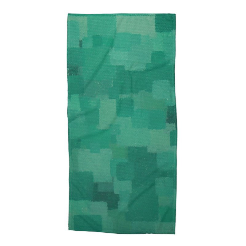Squares Within Squares Green Accessories Beach Towel by Project M's Artist Shop