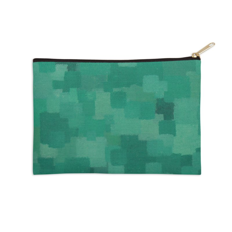 Squares Within Squares Green Accessories Zip Pouch by Project M's Artist Shop