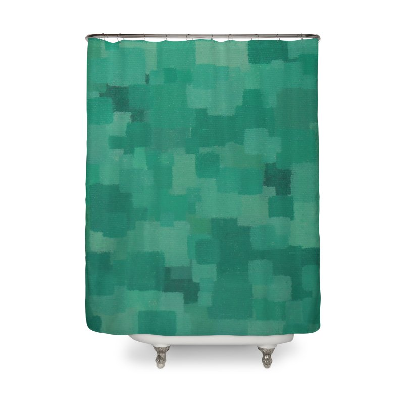 Squares Within Squares Green Home Shower Curtain by Project M's Artist Shop