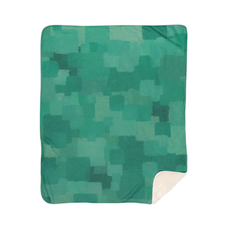 Squares Within Squares Green Home Sherpa Blanket Blanket by Project M's Artist Shop