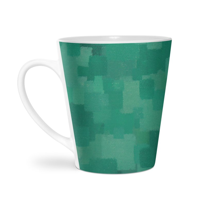 Squares Within Squares Green Accessories Latte Mug by Project M's Artist Shop