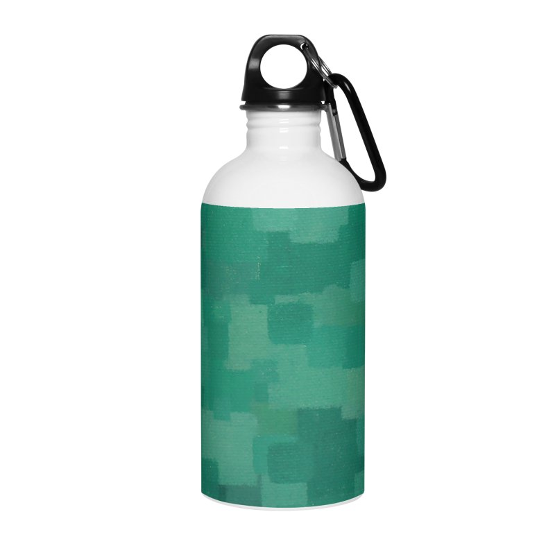 Squares Within Squares Green Accessories Water Bottle by Project M's Artist Shop