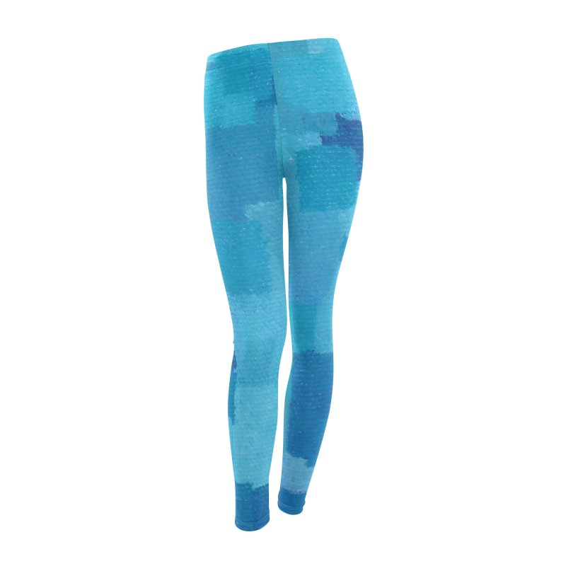 Squares Within Squares Blue Women's Leggings Bottoms by Project M's Artist Shop