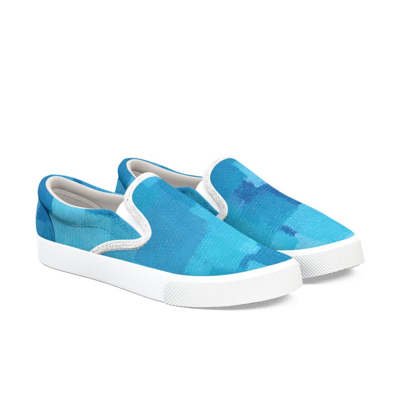 Squares Within Squares Blue Men's Slip-On Shoes by Project M's Artist Shop