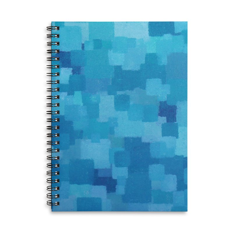 Squares Within Squares Blue Accessories Lined Spiral Notebook by Project M's Artist Shop