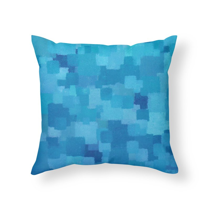 Squares Within Squares Blue Home Throw Pillow by Project M's Artist Shop