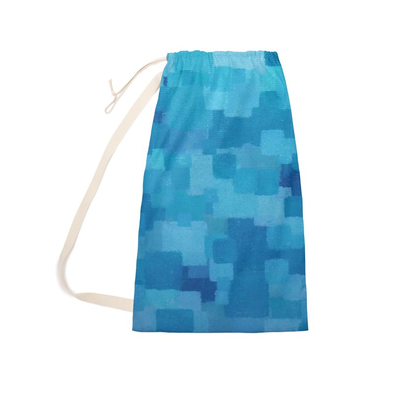 Squares Within Squares Blue Accessories Laundry Bag Bag by Project M's Artist Shop