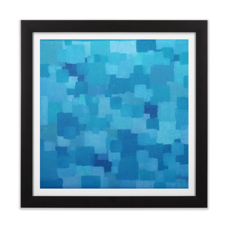 Squares Within Squares Blue Home Framed Fine Art Print by Project M's Artist Shop