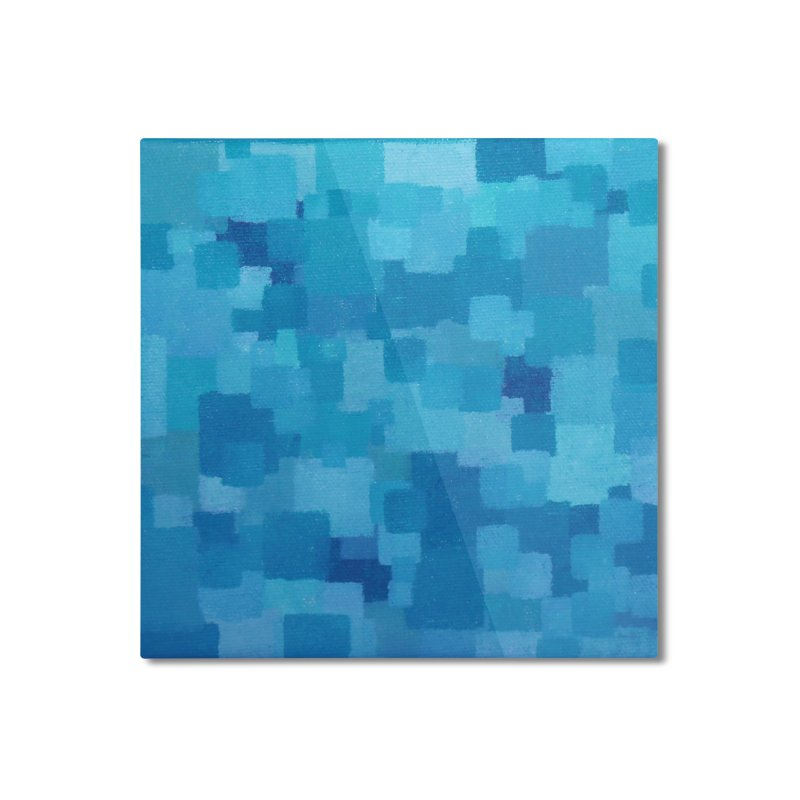 Squares Within Squares Blue Home Mounted Aluminum Print by Project M's Artist Shop