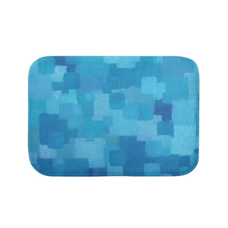 Squares Within Squares Blue Home Bath Mat by Project M's Artist Shop