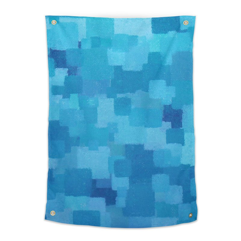 Squares Within Squares Blue Home Tapestry by Project M's Artist Shop