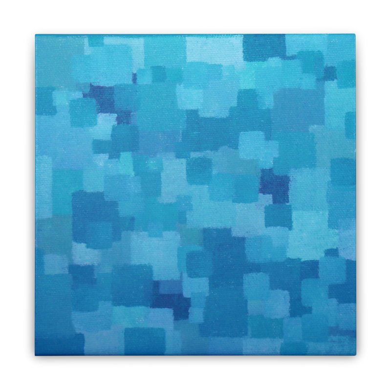 Squares Within Squares Blue Home Stretched Canvas by Project M's Artist Shop