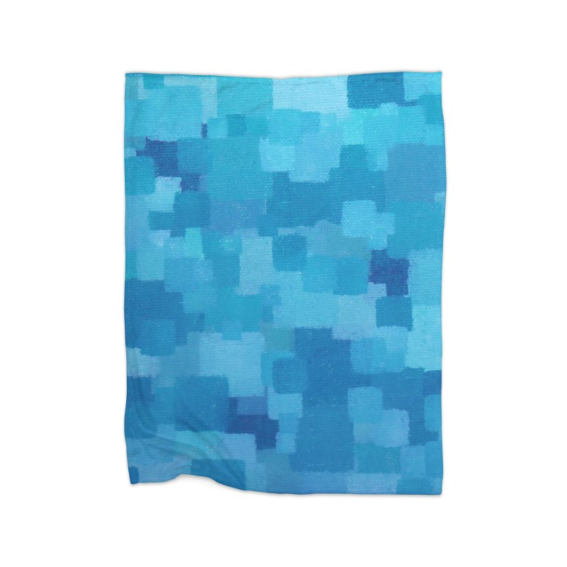 Squares Within Squares Blue Home Fleece Blanket Blanket by Project M's Artist Shop