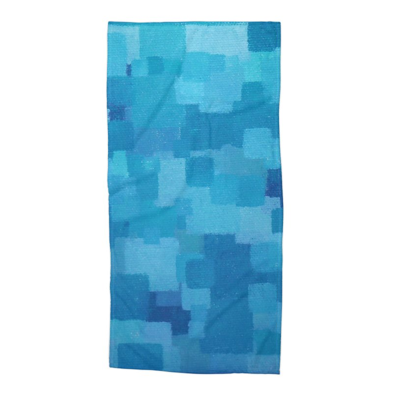 Squares Within Squares Blue Accessories Beach Towel by Project M's Artist Shop