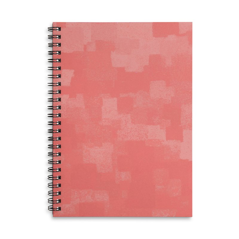 Squares Within Squares Living Coral Accessories Lined Spiral Notebook by Project M's Artist Shop