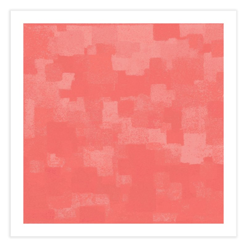 Squares Within Squares Living Coral Home Fine Art Print by Project M's Artist Shop
