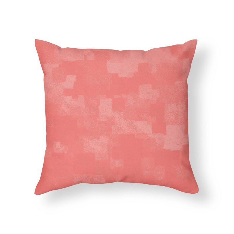Squares Within Squares Living Coral Home Throw Pillow by Project M's Artist Shop