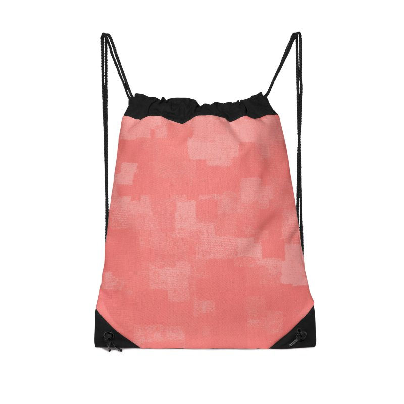 Squares Within Squares Living Coral Accessories Drawstring Bag Bag by Project M's Artist Shop