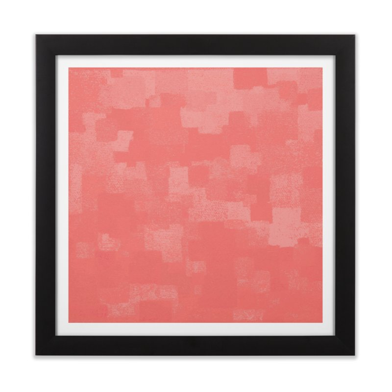 Squares Within Squares Living Coral Home Framed Fine Art Print by Project M's Artist Shop
