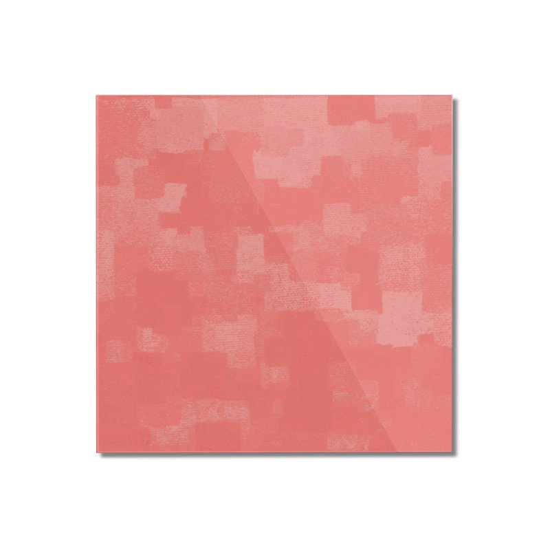 Squares Within Squares Living Coral Home Mounted Acrylic Print by Project M's Artist Shop