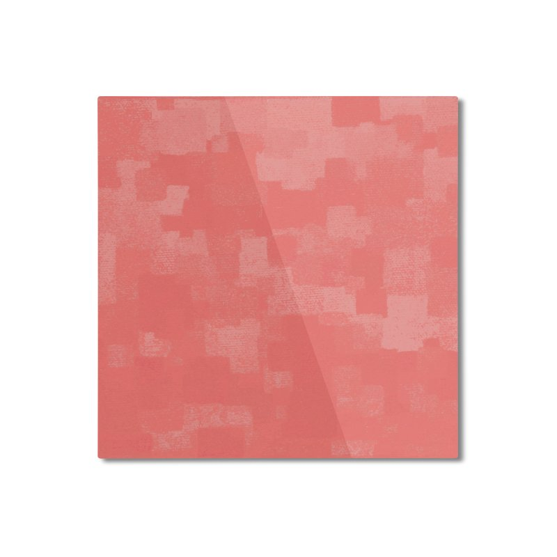 Squares Within Squares Living Coral Home Mounted Aluminum Print by Project M's Artist Shop