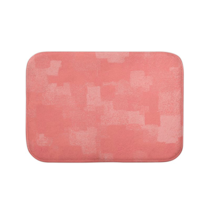 Squares Within Squares Living Coral Home Bath Mat by Project M's Artist Shop