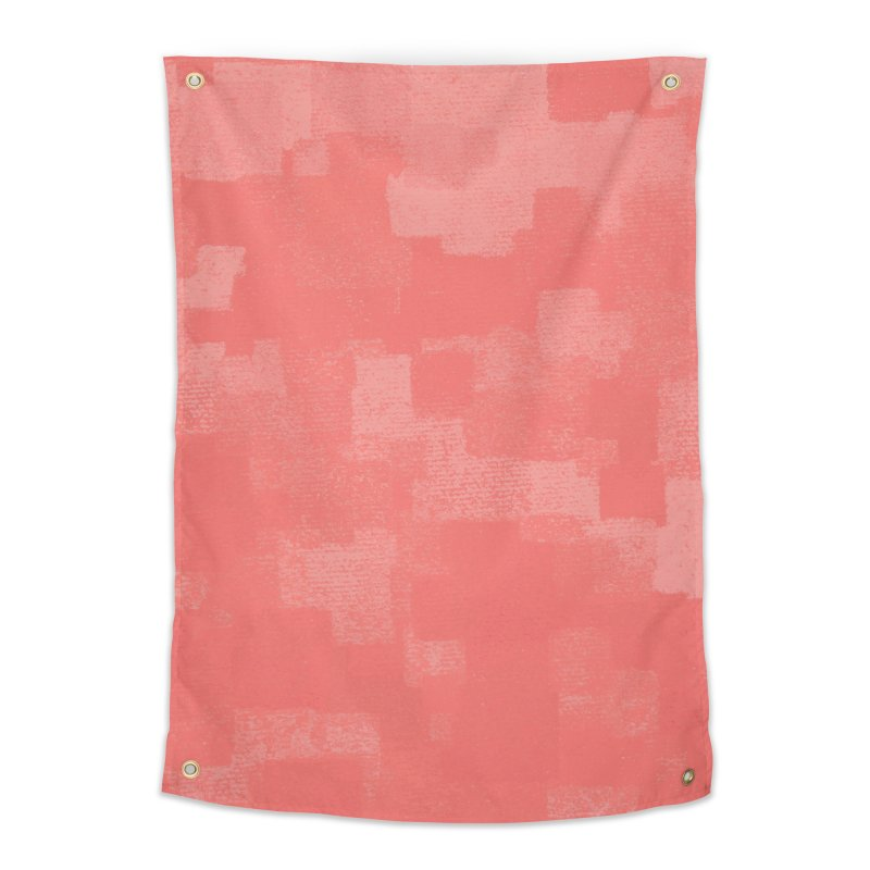 Squares Within Squares Living Coral Home Tapestry by Project M's Artist Shop