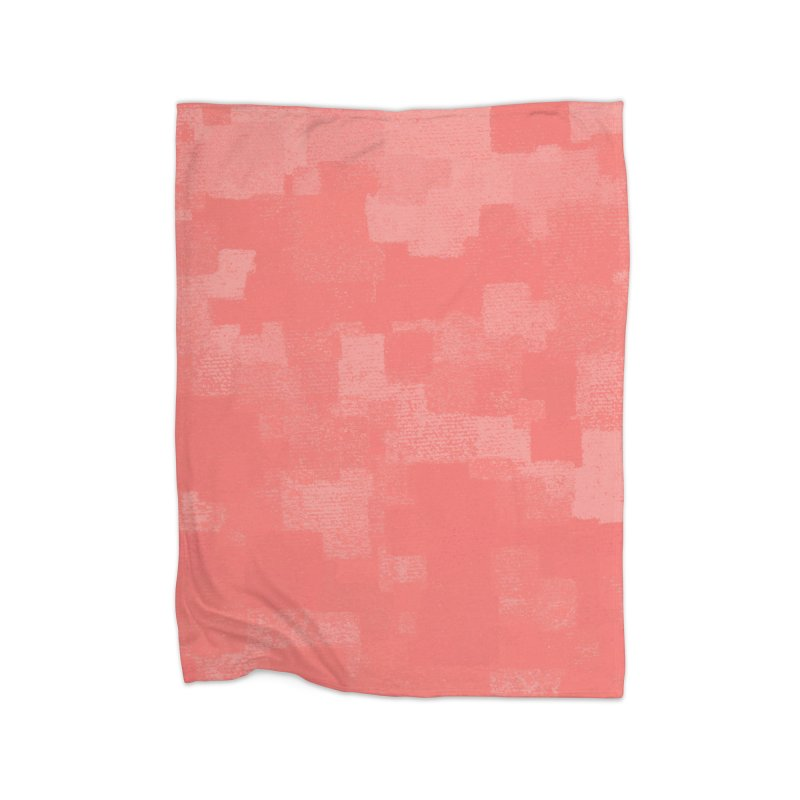 Squares Within Squares Living Coral Home Fleece Blanket Blanket by Project M's Artist Shop