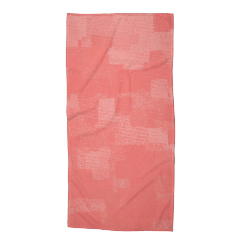 Squares Within Squares Living Coral Accessories Beach Towel by Project M's Artist Shop