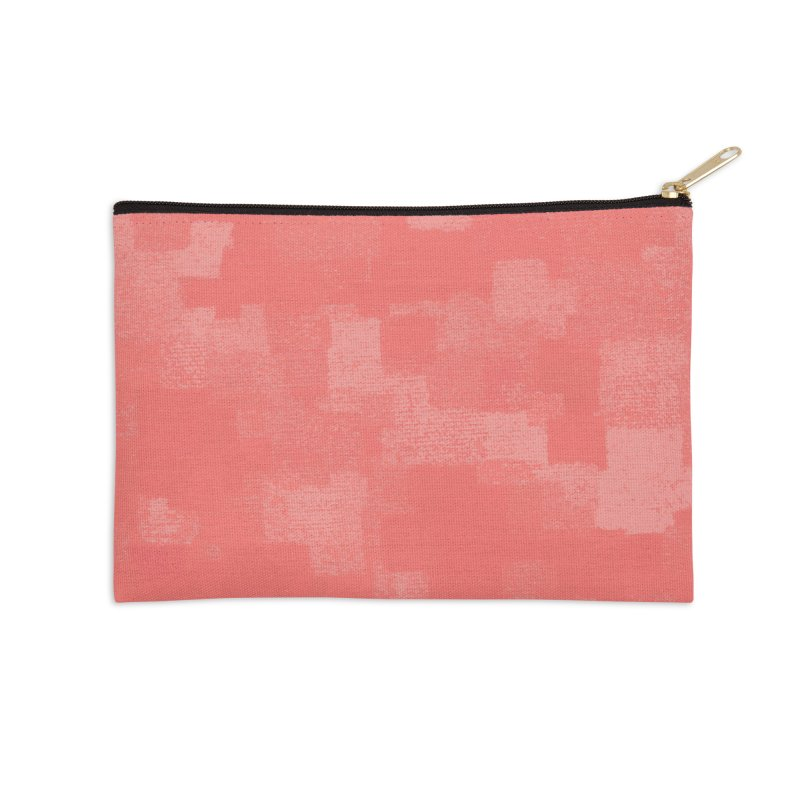 Squares Within Squares Living Coral Accessories Zip Pouch by Project M's Artist Shop