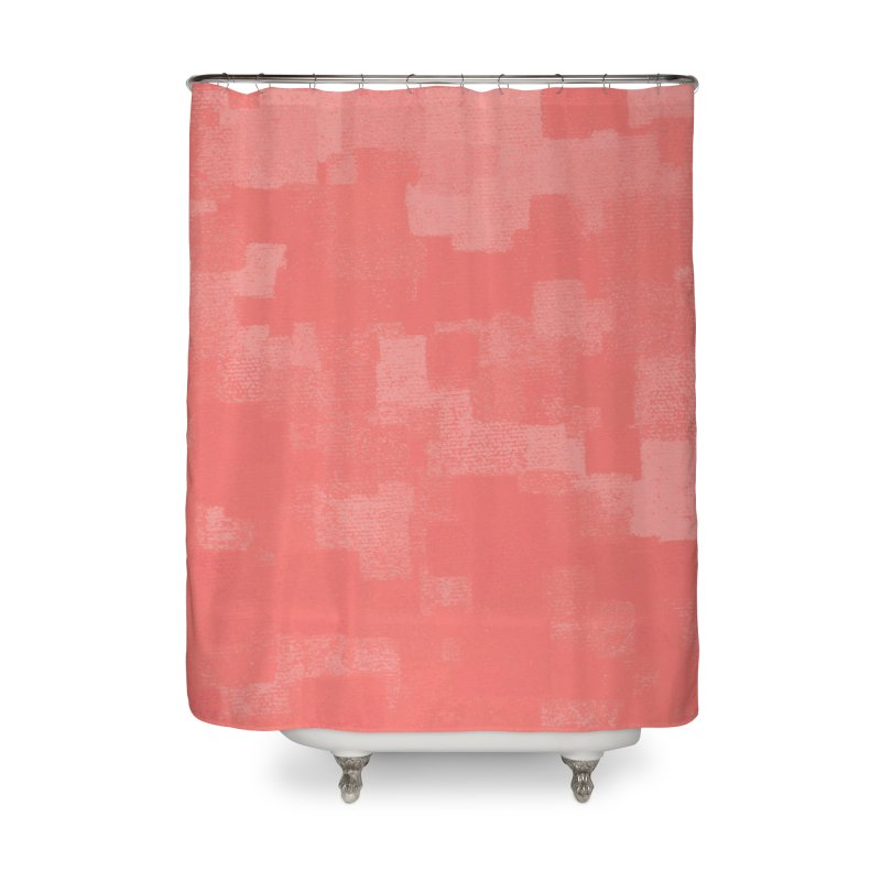 Squares Within Squares Living Coral Home Shower Curtain by Project M's Artist Shop