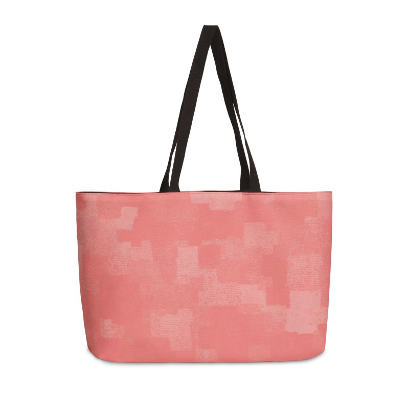 Squares Within Squares Living Coral Accessories Weekender Bag Bag by Project M's Artist Shop