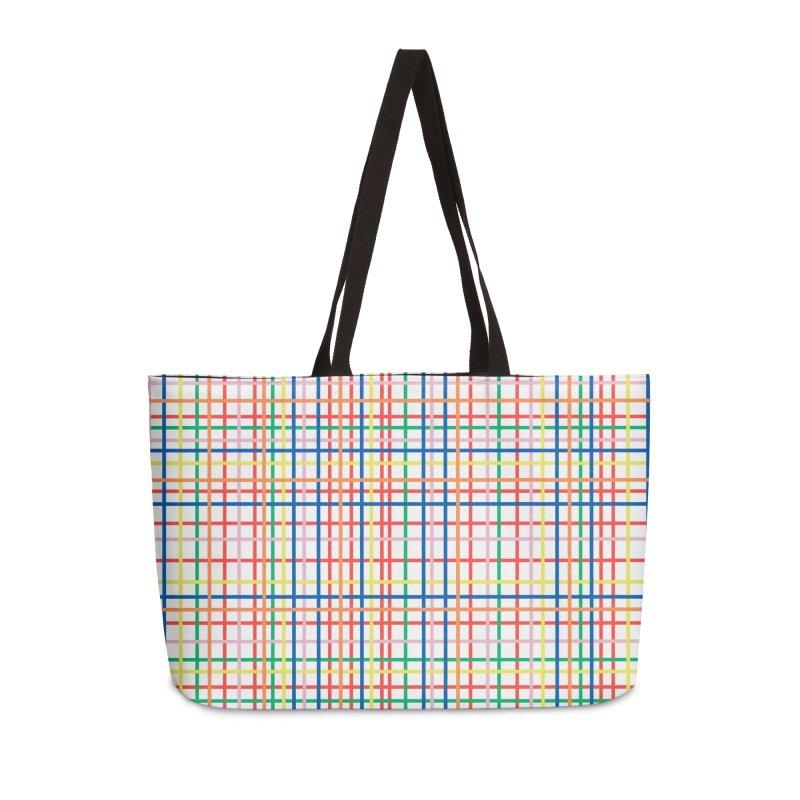 Rainbow Weave Accessories Weekender Bag Bag by Project M's Artist Shop