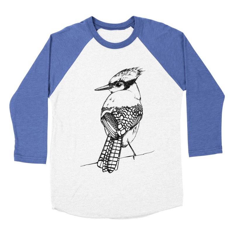 Blue jay in Men's Baseball Triblend T-Shirt Tri-Blue Sleeves by Project Monster Studios T-Shirt Shop