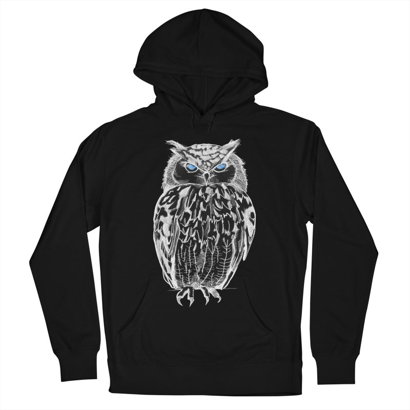White Owl in Men's Pullover Hoody Black by Project Monster Studios T-Shirt Shop
