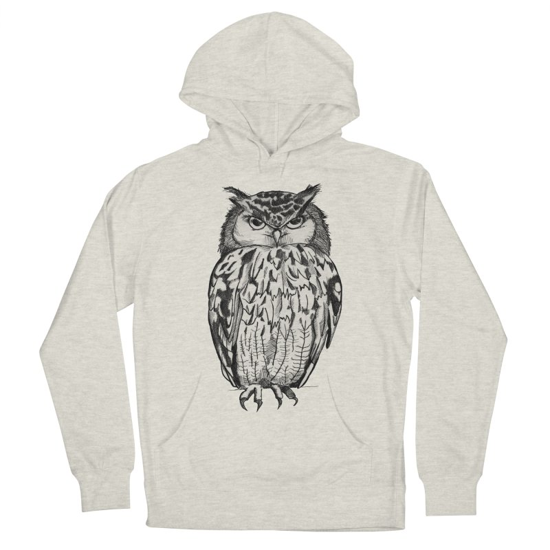 Owl in Men's Pullover Hoody Heather Oatmeal by Project Monster Studios T-Shirt Shop