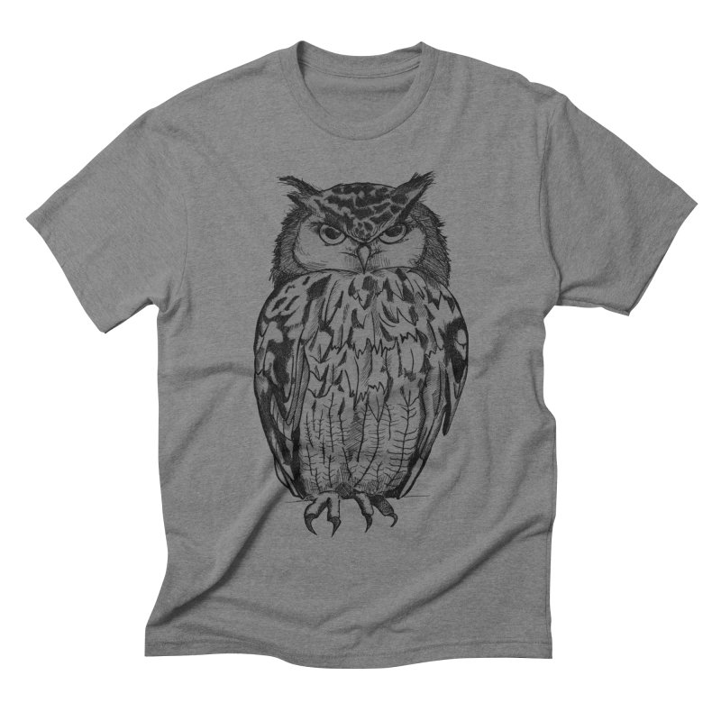 Owl in Men's Triblend T-shirt Grey Triblend by Project Monster Studios T-Shirt Shop