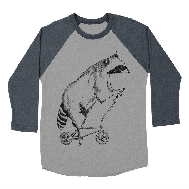 Raccoon on a Bike in Women's Baseball Triblend T-Shirt Navy Sleeves by Project Monster Studios T-Shirt Shop